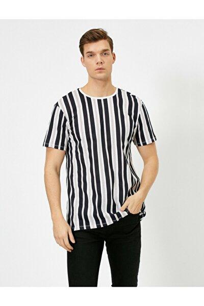 Çizgili Erkek Lacivert T-shirt