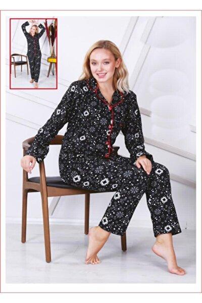 Kadın Süet Likralı Desenli Pijama Takımı