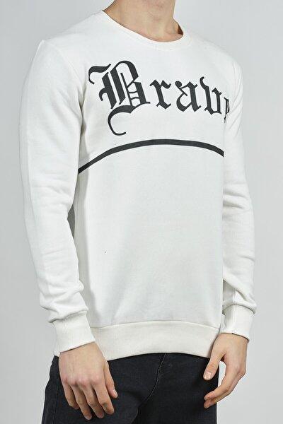 Beyaz Baskılı Sweatshirt 1KXE8-44268-01