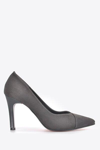 Kadın Gri Süet Klasik Topuklu Ayakkabı Vzn19-109k