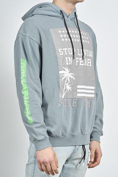 Erkek Antrasit Baskılı Sweatshirt 1kxe8-44275-36