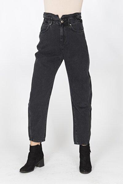 Kadın Siyah Beli Büzgülü,lastikli Yüksel Bel Mom Jeans Pantolon