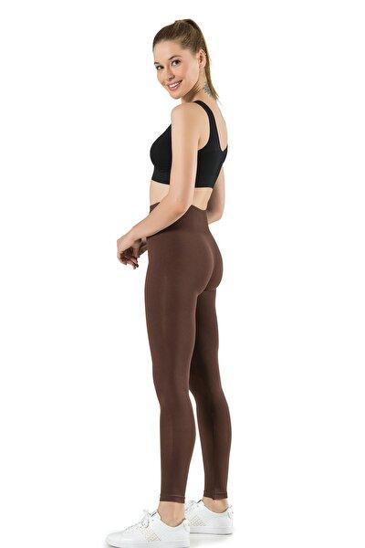 Kadın Kahverengi Dikişsiz Basic Tayt Günlük Kullanım Örme Seamless