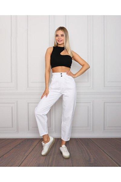 Kadın Beyaz Yüksek Bel Pantolon