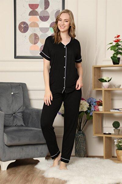 Kadın Siyah Kısa Kollu Önden Düğmeli Biye Detaylı Pijama Takımı
