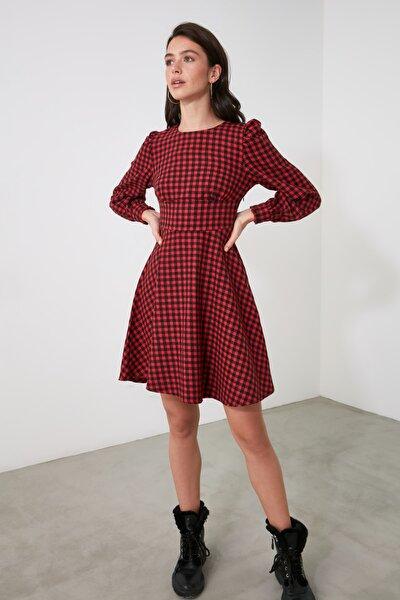 Kırmızı Kareli Elbise TWOAW21EL1762