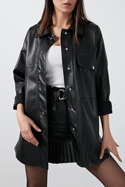Kadın Siyah Cepli Suni Deri Uzun Gömlek Gömlek 04650485