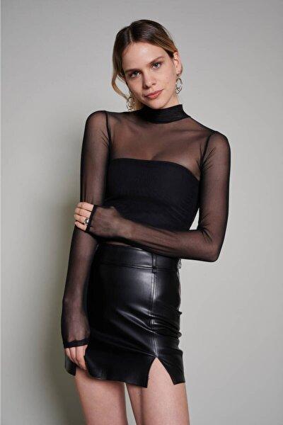 Kadın Siyah Boğazlı Tül Bluz