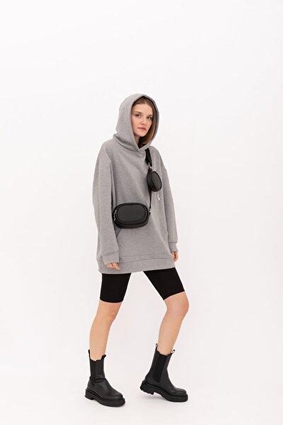 Kadın Saten Kumaş Cüzdanlı Çapraz Çanta Diagon Siyah