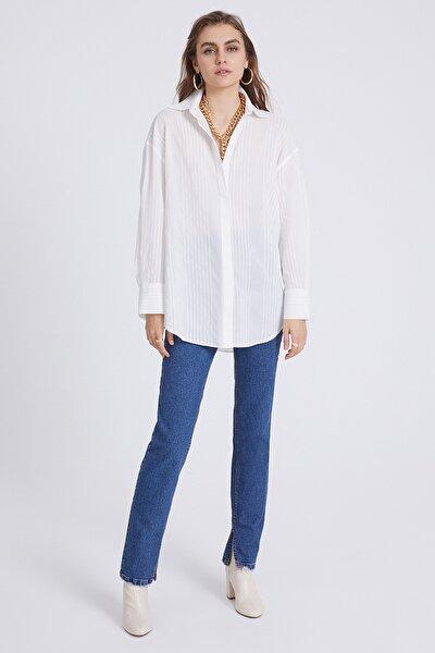 Kadın Beyaz Oversize Gömlek
