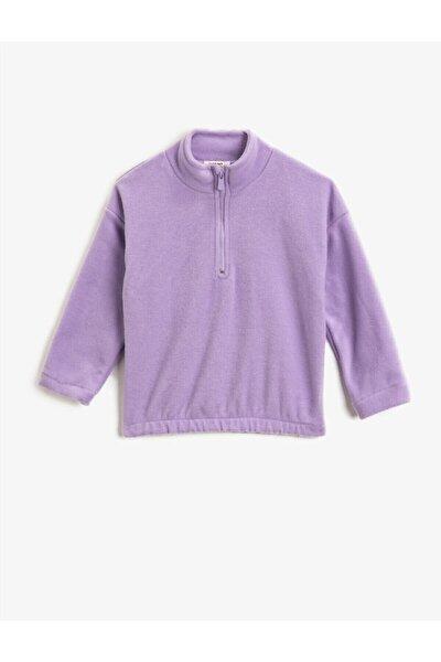 Kız Çocuk Fermuarli Basic Sweatshirt