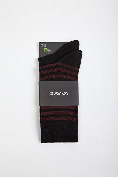 Erkek Siyah Desenli Soket Çorap