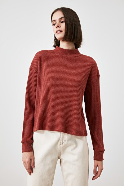 Kiremit Dik Yaka Fitilli Örme Sweatshirt TWOAW21SW1952