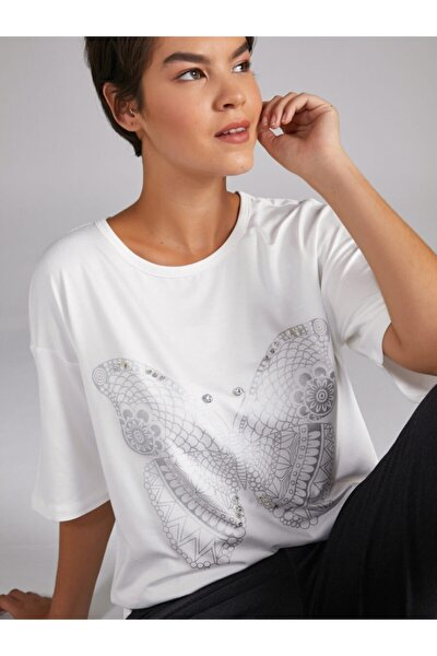 Kadın Ekru Kelebek Baskılı Taş Işlemeli T-shirt