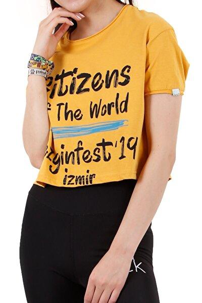 Kadın Sarı Kısa T-Shirt