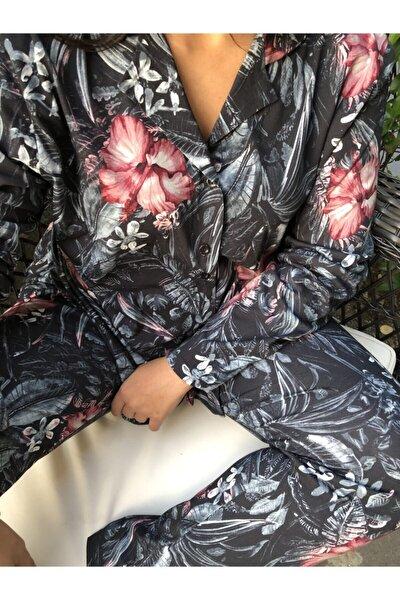 Kadın Siyah Çiçekli Pijama Takımı