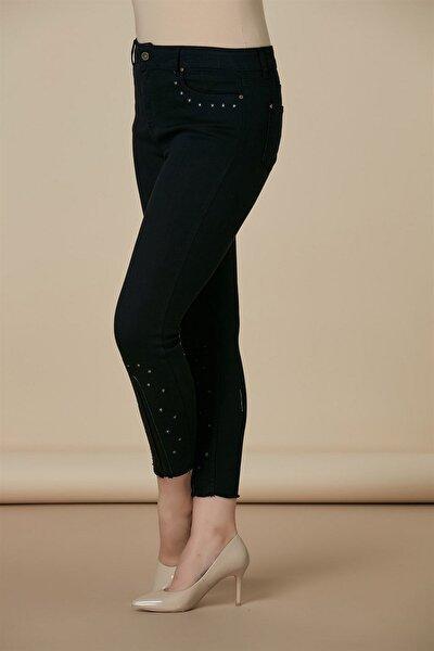 Kadın Siyah Kot Yüksek Bel Dar Paça Pantolon Rg1407