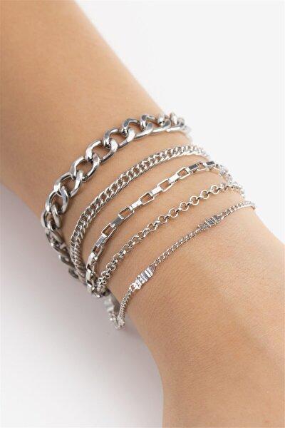 Kadın Gümüş Italyan Zincir Bileklik 017