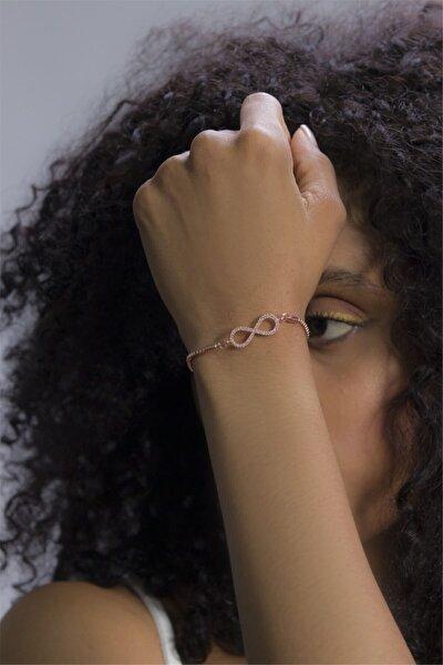 Kadın Rose Sonsuzluk Sembolü Figürlü Zirkon Taşlı Asansörlü Bileklik 080