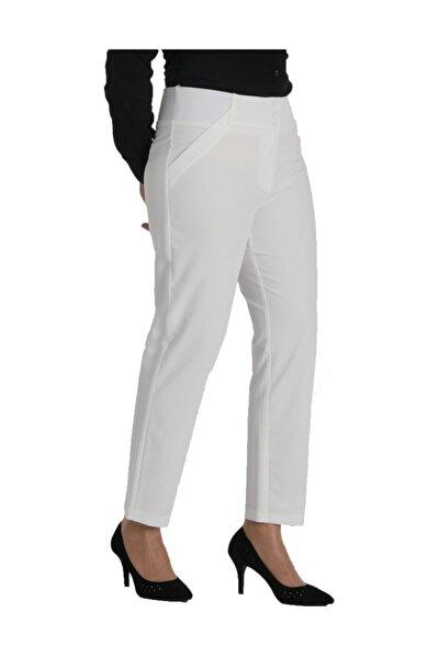 Kadın Beyaz Kumaş Normal Bel Düz Paça Pantolon Nvr2142