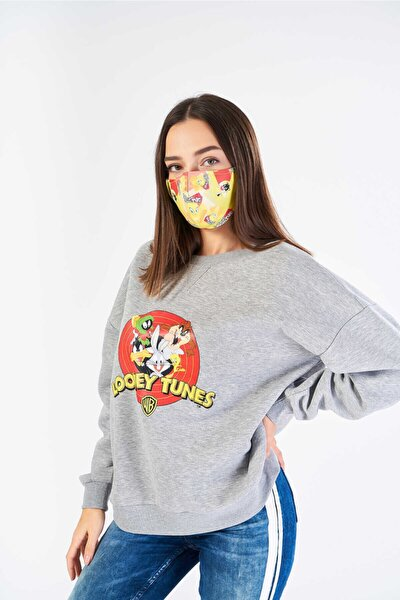 Kadın Gri Lisanslı Looney Tunes Baskılı Sweatshırt