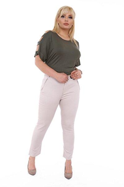 Kadın Bej Kanvas Yüksek Bel Dar Paça Pantolon Rg1390yp