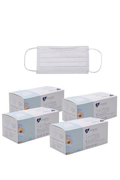 Tek Kullanımlık 3 Katlı Telli-meltblownlu Cerrahi Maske 50 Adet X 4 Kutu Beyaz