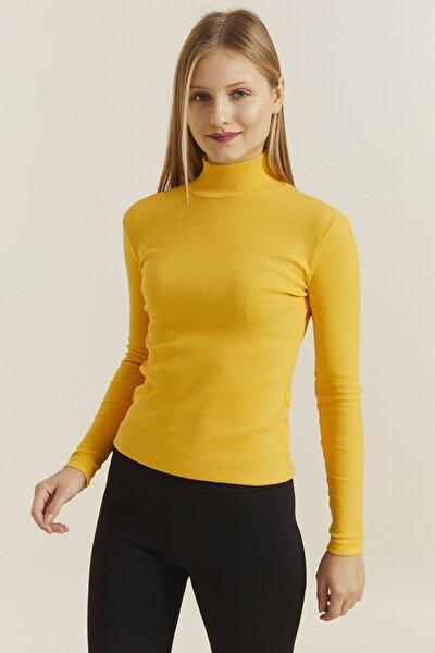 Kadın Sarı Yarım Balıkçı Sweatshirt Likralı 19972