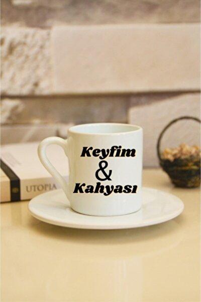Keyfim&kahyası Tasarımlı Beyaz Türk Kahvesi Fincanı