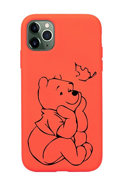 Iphone 11 Pro Max Çizgi Tasarımlı Turuncu Lansman Telefon Kılıfı