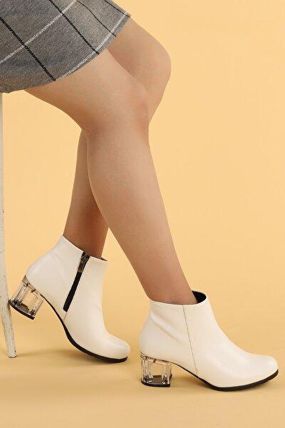Kadın Beyaz Şeffaf Cilt Topuk Termo Taban Bot 6 cm 520