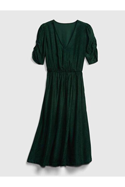 Kadın Yeşil Kadife V Yaka Elbise