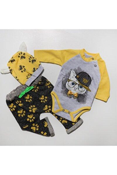 Unisex Bebek Sarı Miniworl Kedili Şapkalı Lüx Zıbın Takım M302