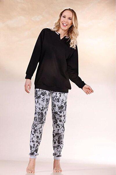Kadın Siyah Çiçek Desenli Uzun Kollu Pijama Takımı