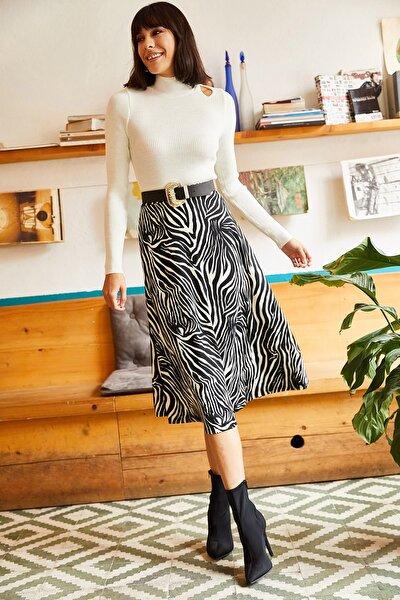 Kadın Zebra Siyah Beli Lastikli Süet Dokulu Çan Etek ETK-19000141
