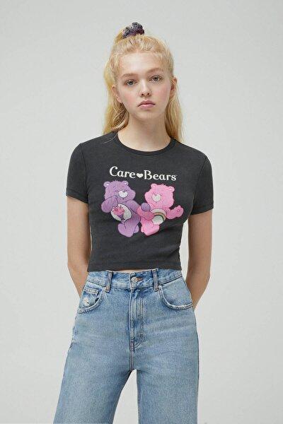 Kadın Soluk Siyah Fitilli Care Bears T-Shirt 04240319