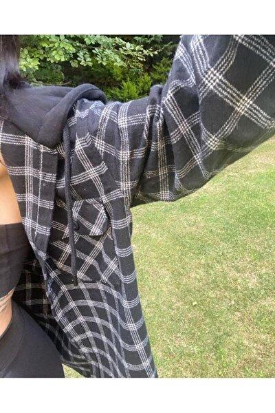 Unisex Siyah Kapüşonlu Detay Gömlek