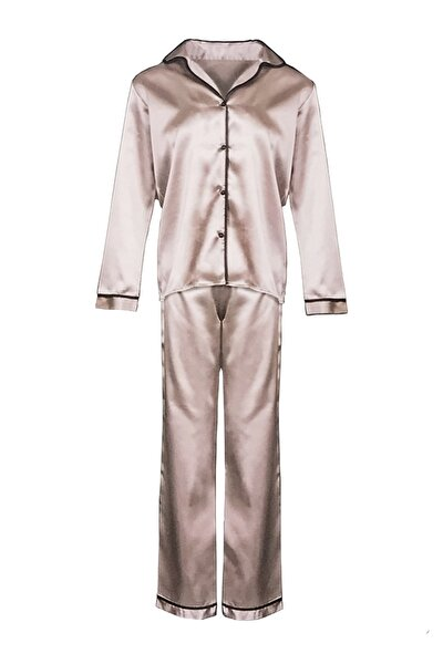 Kadın Pudra Saten Pijama Takımı 2 Li
