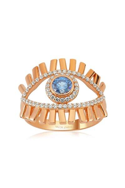 Mavi Işık Nazar Gözü, Swarovski Zirkon Mavi Ve Beyaz Taşlı, Rose Gümüş Yüzük