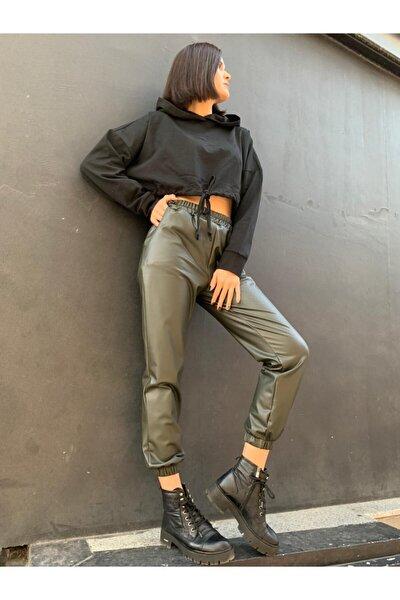 Kadın Haki Deri Pantolon