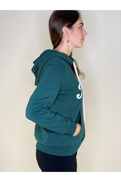 Kadın Yeşil Kapşonlu Cepli Kalın Sweatshırt