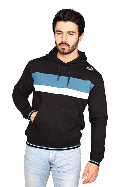 Erkek Siyah Kapişonlu Kanguru Cepli Pamuk Sweatshirt