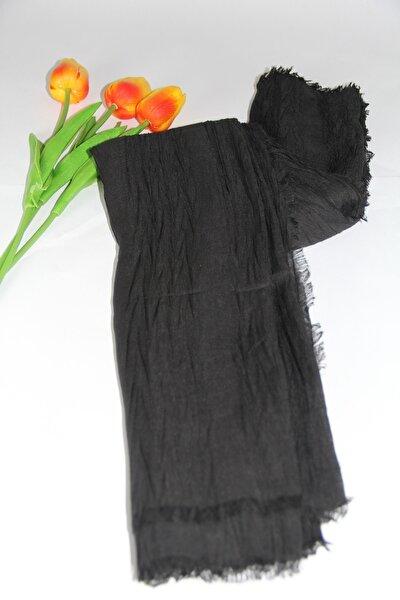 Kadın Siyah Pamuklu Şal