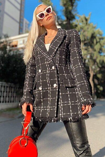 Kadın Siyah Tüvit Püsküllü Blazer Ceket