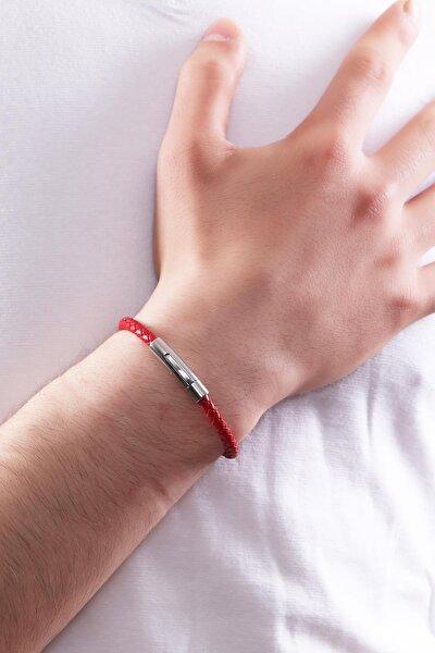 Erkek Çelik Kapama Kırmızı Renk Örgü  Deri Bileklik