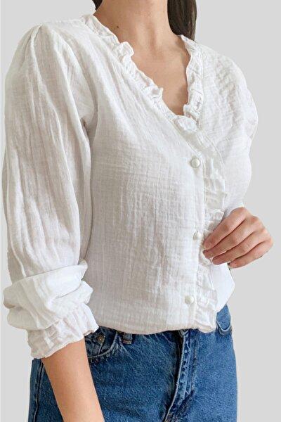 Kadın Beyaz Fırfır Detaylı Müslin Gömlek