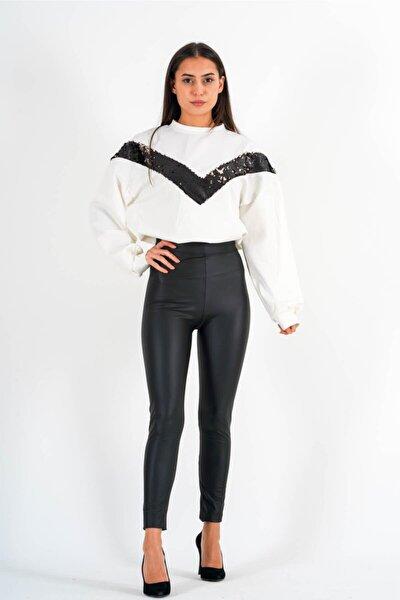 Kadın Siyah Yüksek Bel Deri Pantolon - Lrj021-24