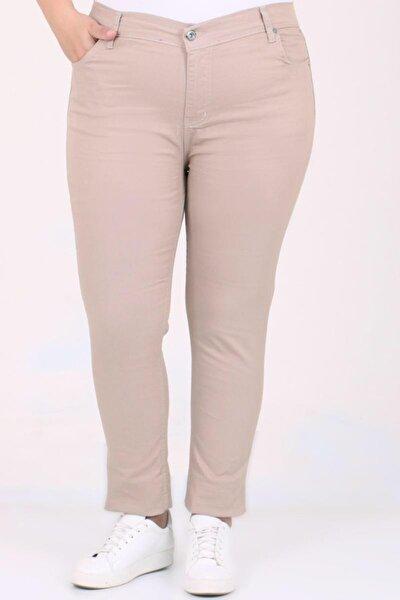 Kadın Krem Dar Paça Gabardin Pantolon 112