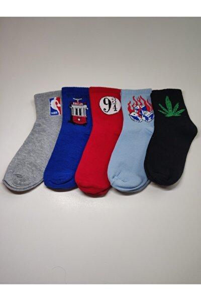 Unisex Desenli 5'li Çorap Seti