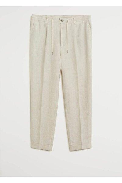 Erkek Ekrü %100 Keten Pantolon  77001004